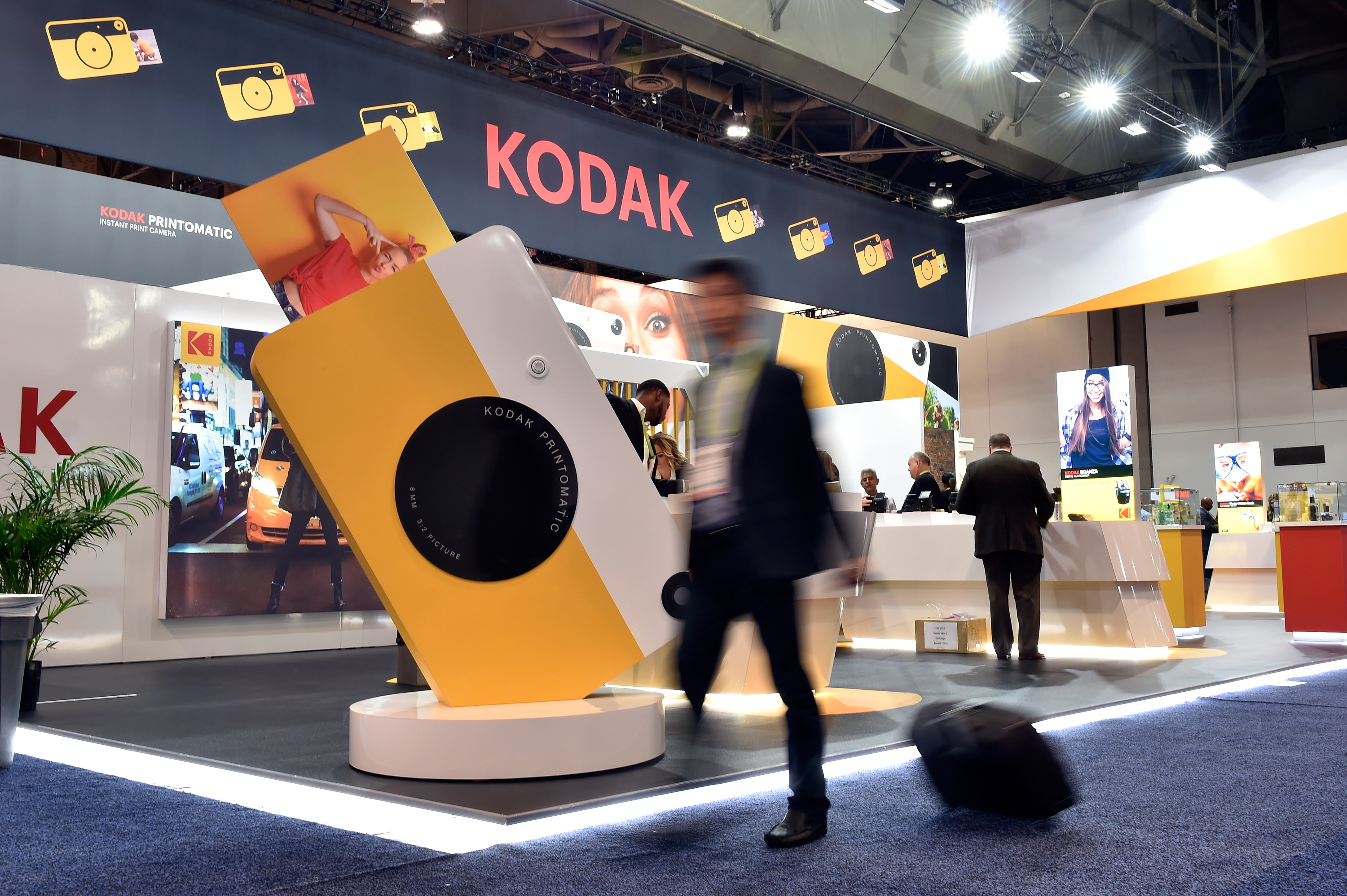 An attendee walks by the Kodak booth during CES 2018 at the Las Vegas Convention Center. CES is the world's largest annual consumer technology trade show. (Photo by David Becker/Getty Images)