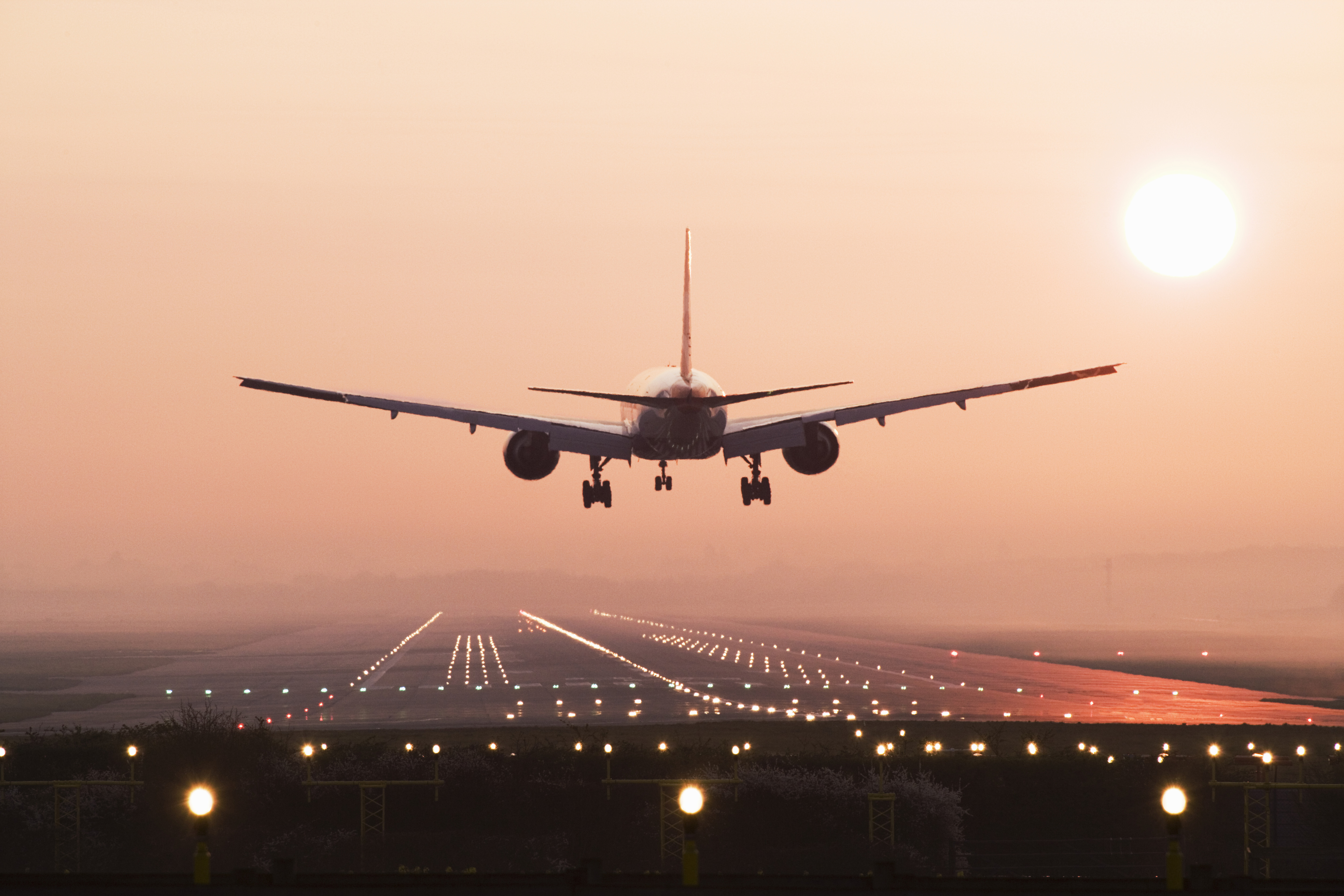 Airplane landing on the runway at Gatwick Airport, London, U.K. (Getty Images)