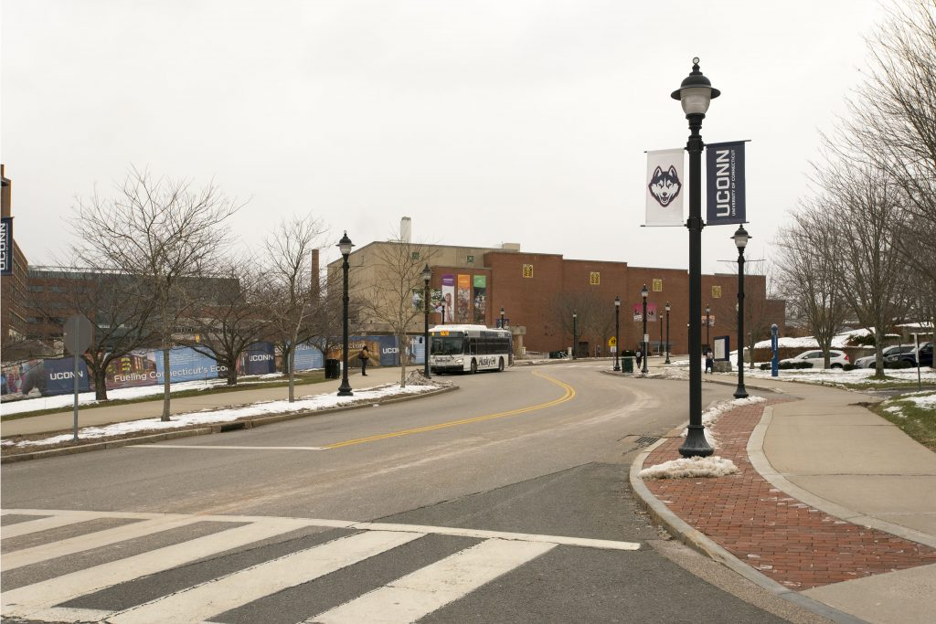 "Hillside Road is part of an environmental initiative on campus known as ""Complete Streets"" – an effort to make the streets more environmentally friendly and able to comfortably accommodate pedestrians, buses, and bikes. (Sean Flynn/UConn Photo)"