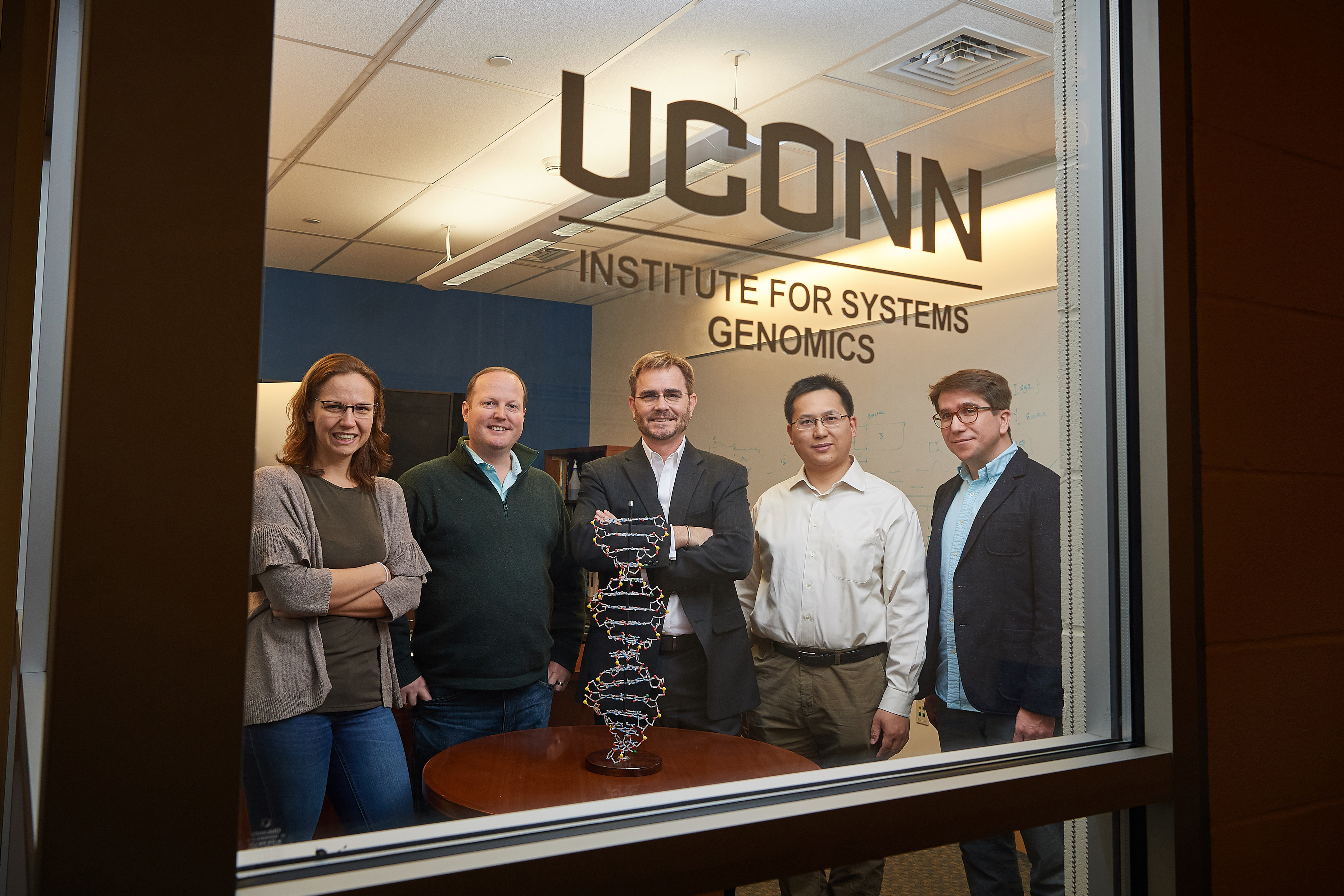 Five UConn Health researchers have won a new type of NIH grant designed to foster innovation and risk-taking in basic medical research. From left, Duygu Ucar, Justin Cotney, Brenton Graveley, Zhengqing Oyang, and Stefan Pinter, at the Cell and Genome Sciences Building in Farmington. (Peter Morenus/UConn Photo)