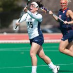 Laura Marcoux, at that time Laura Eichert, played on the Lacrosse team for four years while she was an undergraduate in Storrs. (Athletic Communications File Photo)