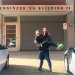Ryan and Laura Marcoux revisit the Engineering II Building in Storrs, where they first met while they were both UConn undergraduates. (Photo courtesy of Ryan and Lauren Marcoux)