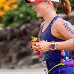 Laura competes at the Ironman World Championship in Kailua-Kona, Hawaii, in 2016. The Ironman is a consecutive triathlon consisting of a 2.4 mile swim, a 112-mile bicycle ride, and a marathon 26.22-mile run. (Photo courtesy of Ryan and Laura Marcoux)