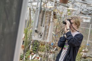 Mitch Britton '19 (SFA) takes photos at the UConn Biodiversity Education and Research Greenhouses.