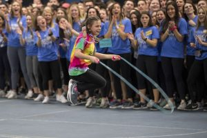 Princess Madison jumping rope while students cheer her on at HuskyTHON, a dance marathon to raise money for Connecticut Children's Medical Center on  Feb. 17, 2018. (Sean Flynn/UConn Photo)