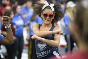 Students at HuskyTHON, a dance marathon to raise money for Connecticut Children's Medical Center on Feb. 17, 2018. (Sean Flynn/UConn Photo)