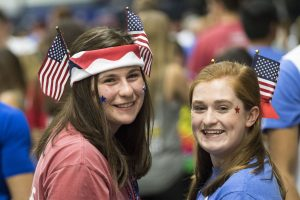 (from left) Emma Kryzanski '20 (CLAS) and Julia Christolini '20 (NUR) at HuskyTHON, a dance marathon to raise money for Connecticut Children's Medical Center on Feb. 17, 2018. (Sean Flynn/UConn Photo)
