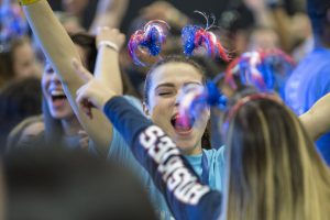 Anneliese DeVito '20 (CLAS) dancing at HuskyTHON, a dance marathon to raise money for Connecticut Children's Medical Center on Feb. 17, 2018. (Sean Flynn/UConn Photo)