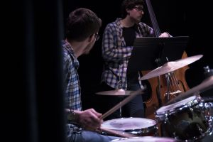 "Music majors Steven McArdle (drums) and Nathan Giordano (bass) play at ""Jazz Night at the Ballard"" on Feb. 20. (Garrett Spahn '18 (CLAS)/UConn Photo)"