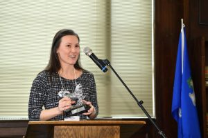 Bianka Horvath, Off Campus Student Services, recipient of the rising star award. (Peter Morenus/UConn Photo)