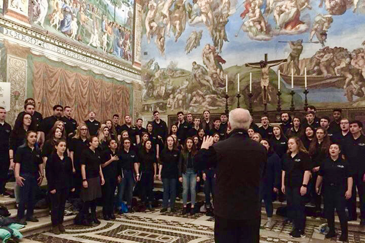 The Concert Choir sings at the Sistine Chapel in Rome. Together with the Womens Choir and Collegium Musicum, the group spent nine days over Spring Break participating in the American Celebration of Music in Austria and Italy.