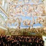 The Concert Choir sings at the Sistine Chapel, a chapel in the Apostolic Palace, the official residence of the Pope, in Vatican City.