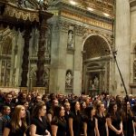 Singing before the altar at St. Peter's Basilica in Rome. (Emily Lattanzi/UConn Photo)