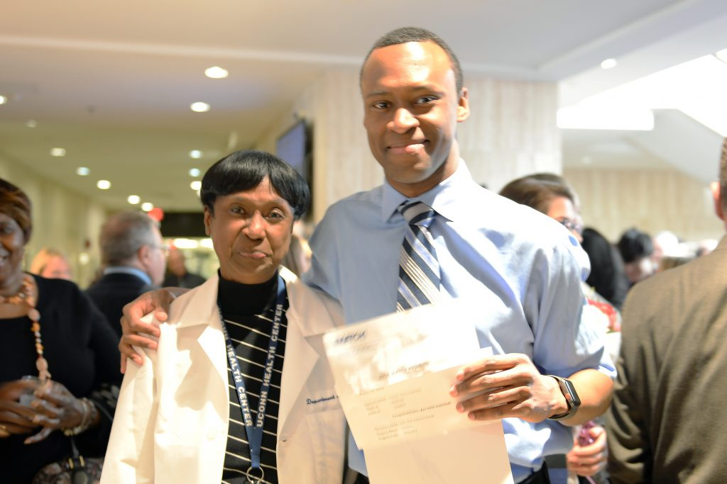 Franklin Sylvester with Dr. Marja Hurley at UConn Health Match Day 2018. March 16, 2018. (Kristin Wallace/UConn Health Photo)