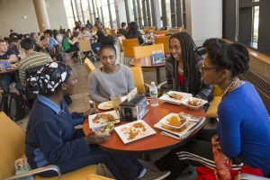 Students eat a meal at the McMahon Dining Hall. (Al Ferreira/UConn Photo)