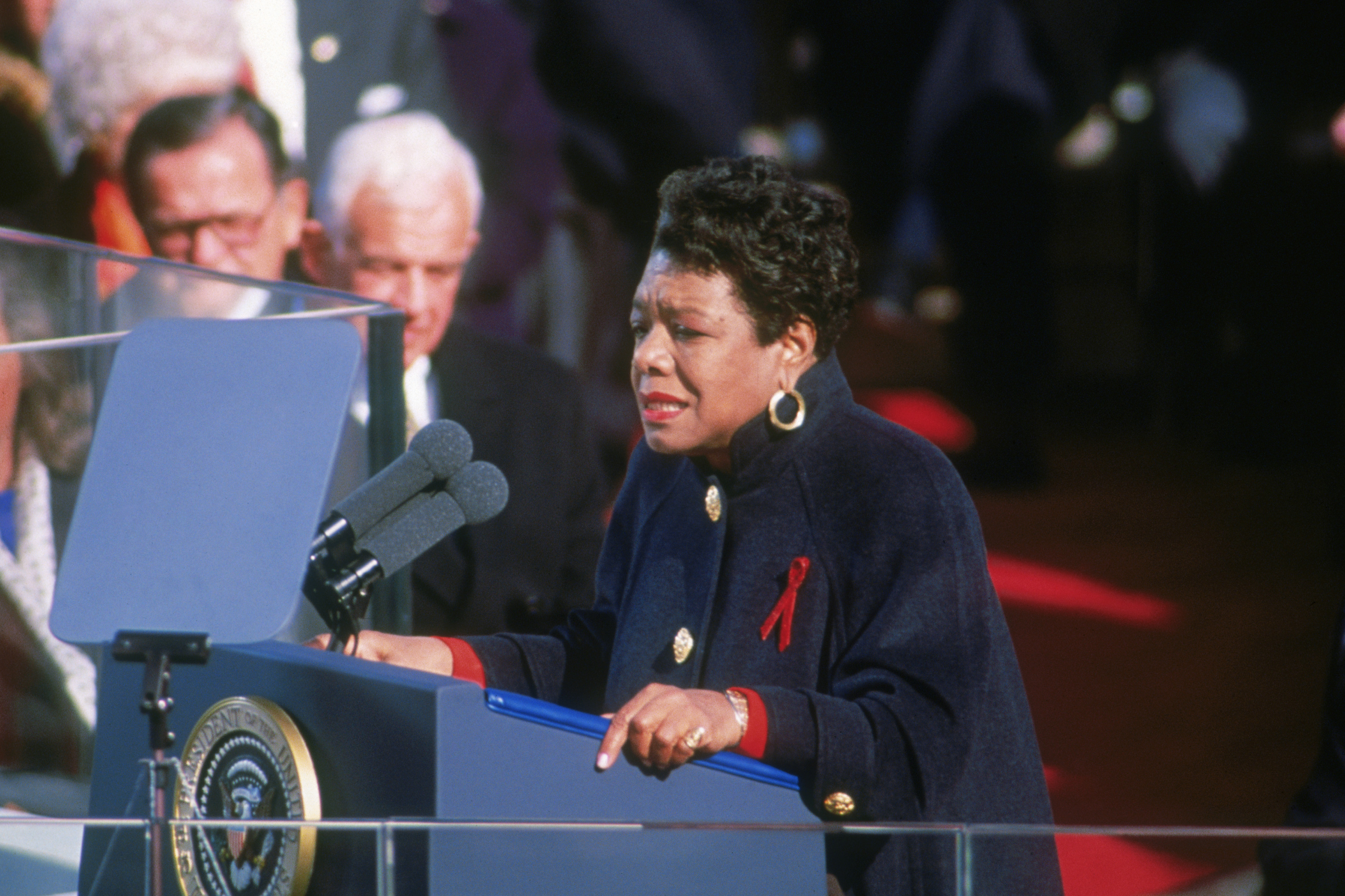 Poet Maya Angelou recites her poem 'On the Pulse of Morning' at the inauguration of President Bill Clinton in Washington D.C., Jan. 20, 1993. (Consolidated News Pictures/Getty Images)
