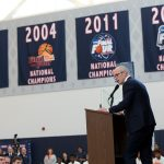 In late March, Dan Hurley was selected as the new head coach of UConn men's basketball. At a welcome event on campus, Hurley emphasized the Huskies' proud tradition and promised to renew the program's championship culture. (Stephen Slade '89 (SFA) for UConn)