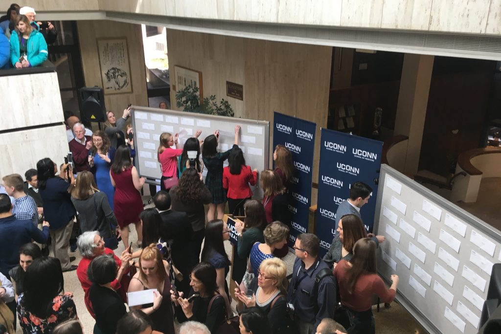 Match Day at UConn Health, where medical students find out where they will spend the next three to six years in residency training programs. The annual rite of passage for fourth-year medical students took place on March 16, 2018. (Lauren Woods/UConn Health Photo)