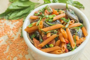 Red lentil penne with mushrooms, spinach, and sundried tomatoes. (Jeff Gonci, Dining Services/UConn Photo)