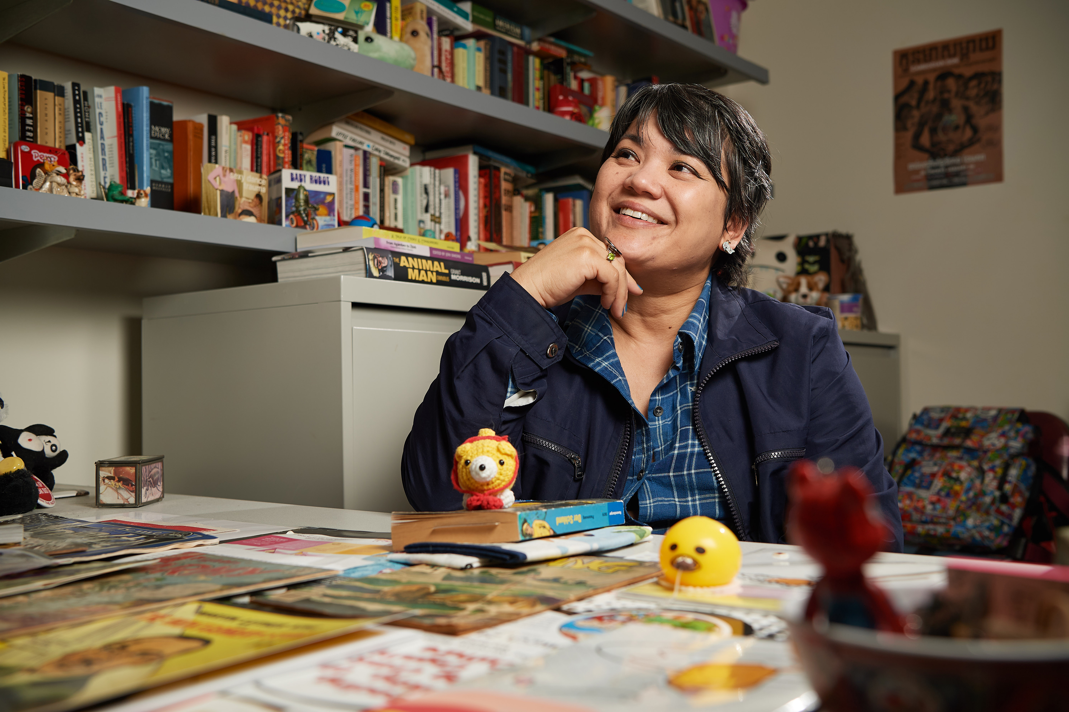 Cathy Schlund-Vials, Professor of English and Asian American Studies, at her office. (Peter Morenus/UConn Photo)
