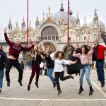 UConn musicians celebrate their visit to Venice. (Jamie Spillane/UConn Photo)