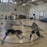 Hits are made with the point. The target area varies according to the type of fencing. Fencing is a sport that requires both physical and mental skill, and lightning-quick reactions. (Garrett Spahn '18 (CLAS)/UConn Photo)