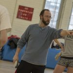 Jonathan Ferris, coach of the UConn Fencing Club, directs practice. Practices are held two to three times a week, to prepare for a tournament each semester. The UConn club also competes in meets with other fencing clubs in the area. (Garrett Spahn '18 (CLAS)/UConn Photo)