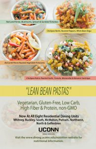 A poster advertising the four new Lean Bean Pastas and their availability at all eight dining halls on campus.