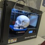 A model of a skull printed by a UConn student using one of the three 3-D printers available in the OPIM Innovate Lab. (Garrett Spahn '18 (CLAS)/UConn Photo)