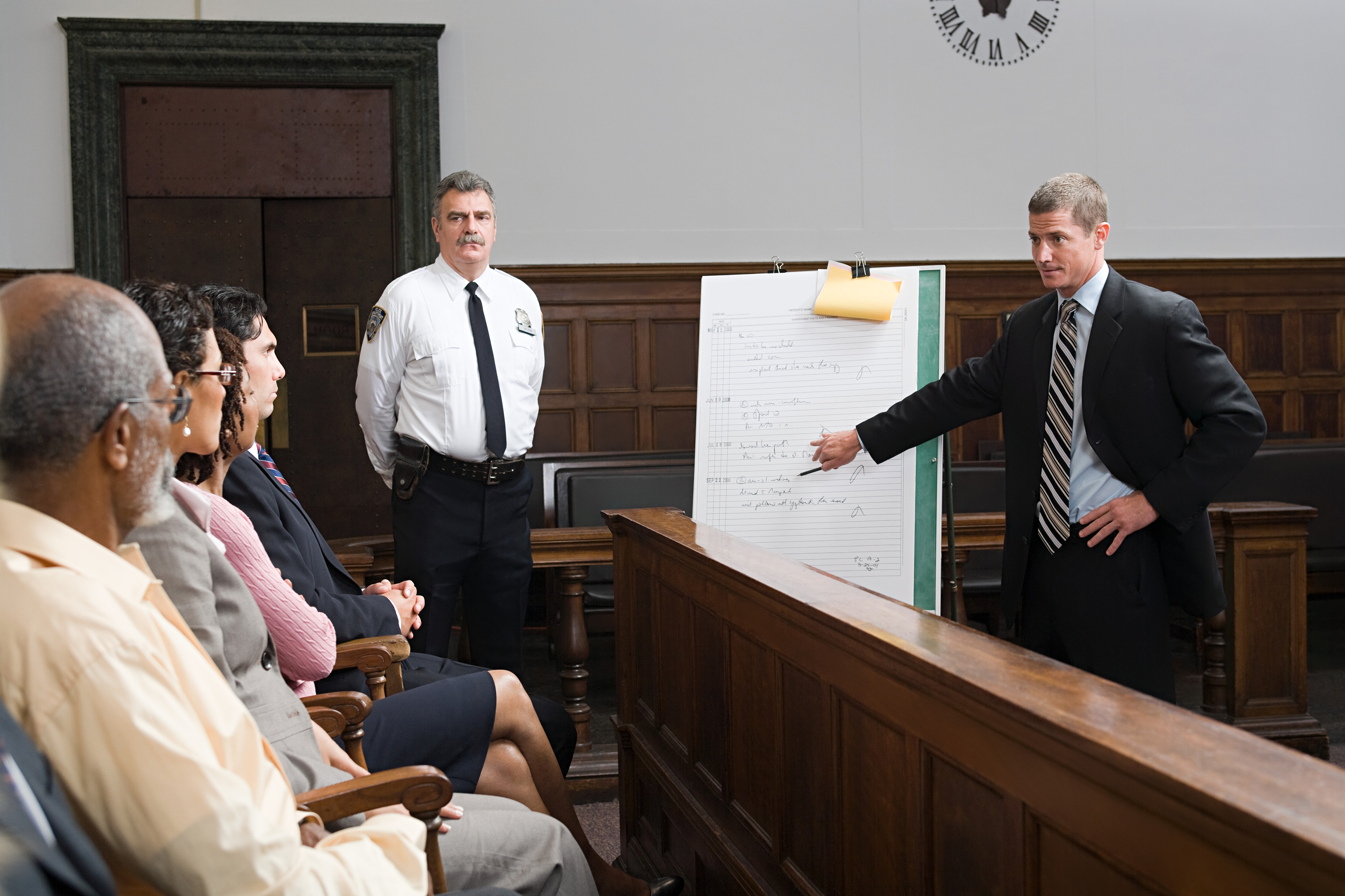 A lawyer and the jury. (Getty Images)