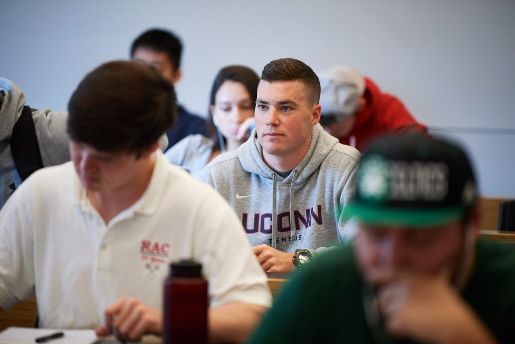 Jack McLister in a class at Oak Hall on April 26, 2018. (Peter Morenus/UConn Photo)