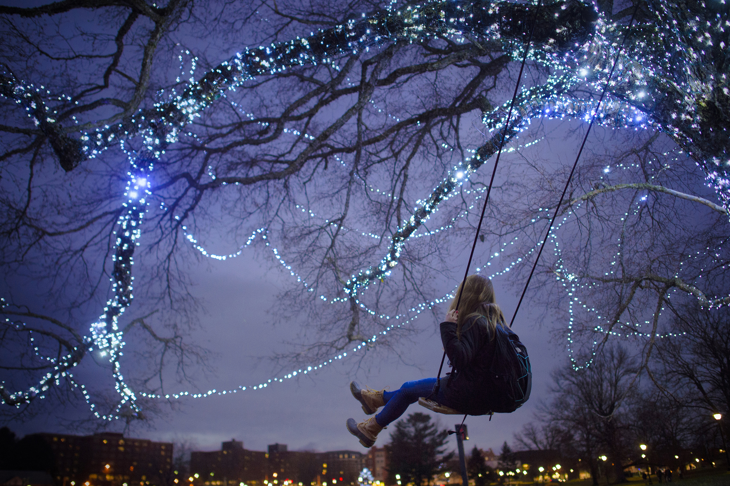 In the week before final semester exams, UConn student Alyssa Czerwinski takes a break between classes to look out over Mirror Lake to swing from the campus' so-called 'swing-tree.' (Mark Mirko/Hartford Courant Photo)