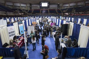 Students attend a Career Fair in Gampel Pavilion. (Ryan Glista/UConn Photo)