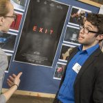 Matthew Bilmes, right, a senior digital media and design major, talks about his original short science fiction film 'Exit.' (Garrett Spahn '18 (CLAS)/UConn Photo)
