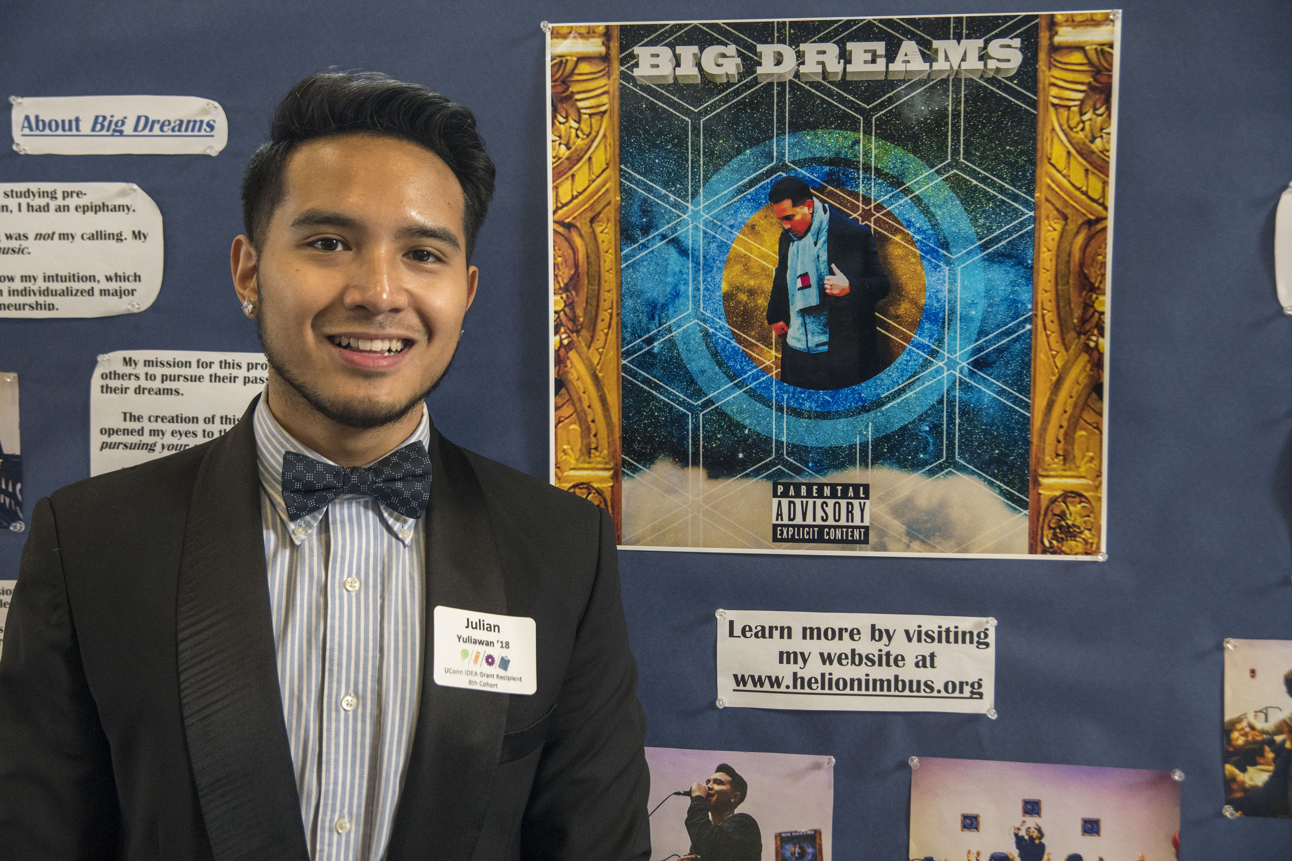 Julian Yuliawan, a senior music entrepreneurship major, at the UConn Idea Grant Year End Showcase on April 19, 2018. (Garrett Spahn/UConn Photo)
