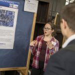 Maya Schlesinger, a senior animal science major, presents her research on the development of muscle in chicken embryos. (Garrett Spahn/UConn Photo)