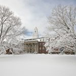 March was the month it seemed the snow would never stop, with four Nor'easters battering the state. But in this March 8 photo, UConn's iconic Wilbur Cross Building looks tranquil under a blanket of snow. (Sean Flynn/UConn Photo)
