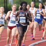 Susan Aneno, a junior, set a new conference meet record in the 800 m race on May 13, helping the Huskies finish fourth at the outdoor championship. (UConn Athletic Communications Photo)
