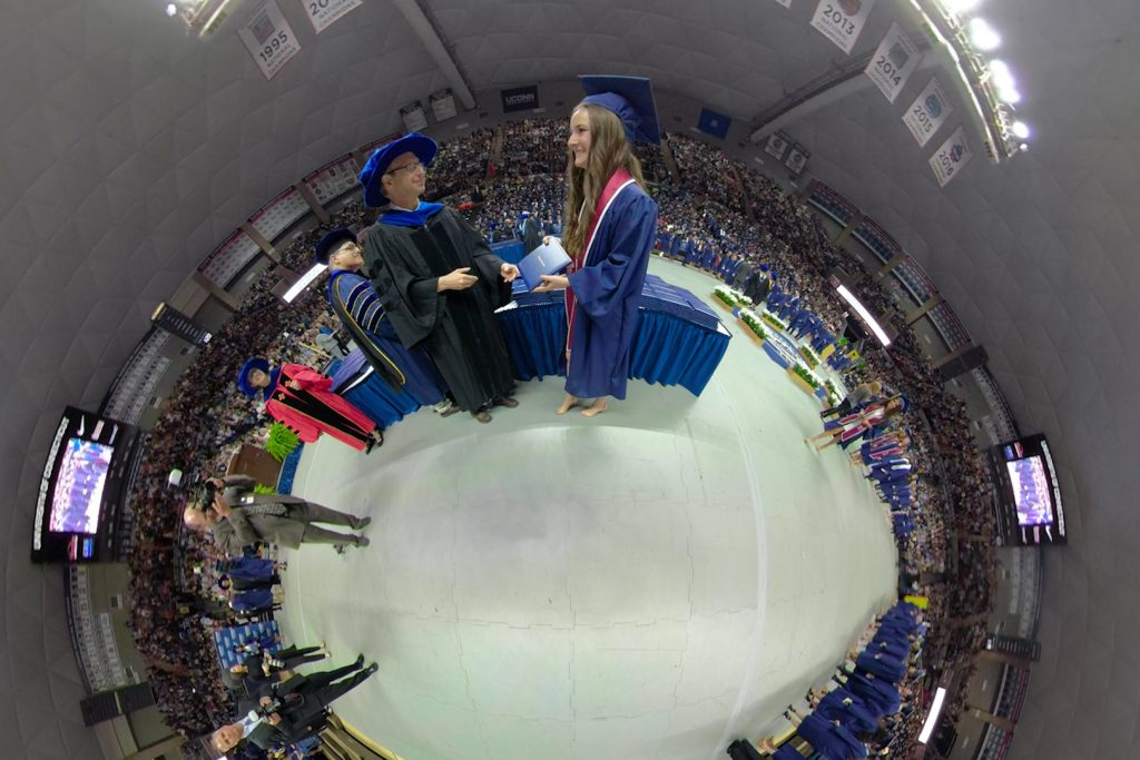 CLAS Commencement in 360 on May 6, 2018. (Bret Eckhardt/UConn Photo)