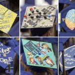 A composite of caps seen at the College of Liberal Arts and Sciences Commencement ceremony. (Sean Flynn/UConn Photo)