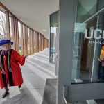E. Carol Polifroni, professor and former dean, starts the the School of Nursing Commencement procession on May 5, 2018. (Peter Morenus/UConn Photo)