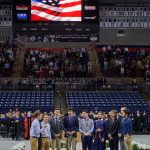 UConn a capella group the Conn Men sing the National Anthem at the School of Engineering Commencement ceremony. (Peter Morenus/UConn Photo)