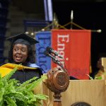 Kimberly Bryant, founder and executive director of Black Girls Code, gives the address at the School of Engineering Commencement ceremony at Gampel Pavilion on May 5. (Peter Morenus/UConn Photo)
