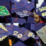A composite of six caps seen at the School of Engineering Commencement ceremony. (Peter Morenus/UConn Photo)