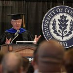 Ken Lalime '79 (PHR) gives the address at the School of Pharmacy undergraduate Commencement ceremony at Rome Ballroom on May 5. (Peter Morenus/UConn Photo)