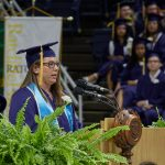 Alyssa Condon '18 (CAHNR) gives the student address during the College of Agriculture, Health, and Natural Resources Commencement ceremony. (Peter Morenus/UConn Photo)