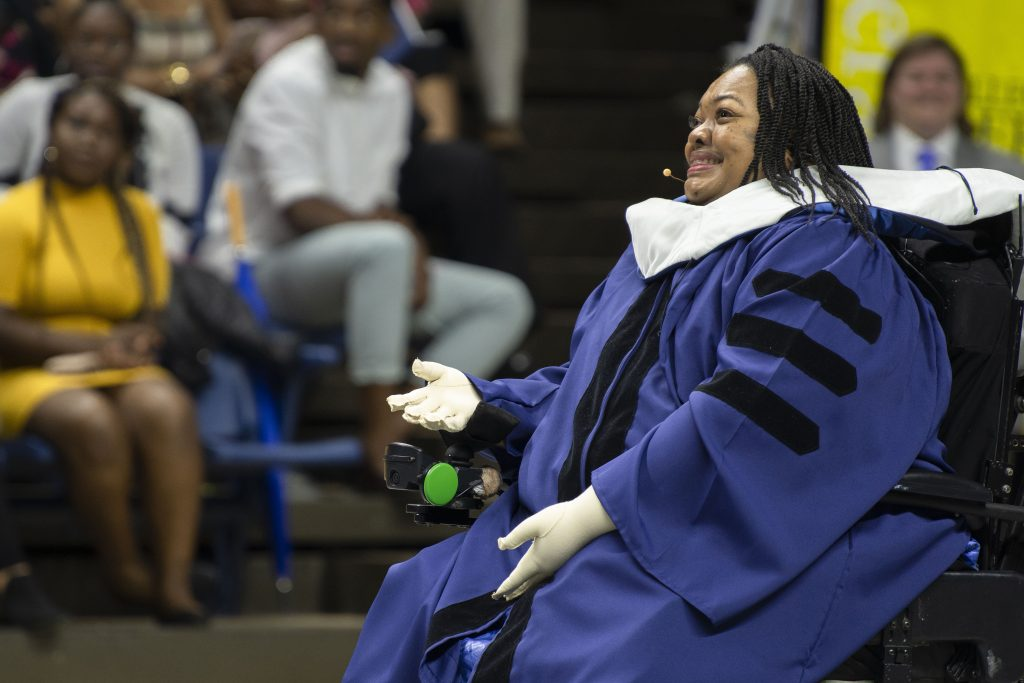 Crystal R. Emery, Commencement speaker for the College of Liberal Arts and Sciences (CLAS) Commencement ceremony at Gampel Pavilion on May 6, 2018. (Sean Flynn/UConn Photo)