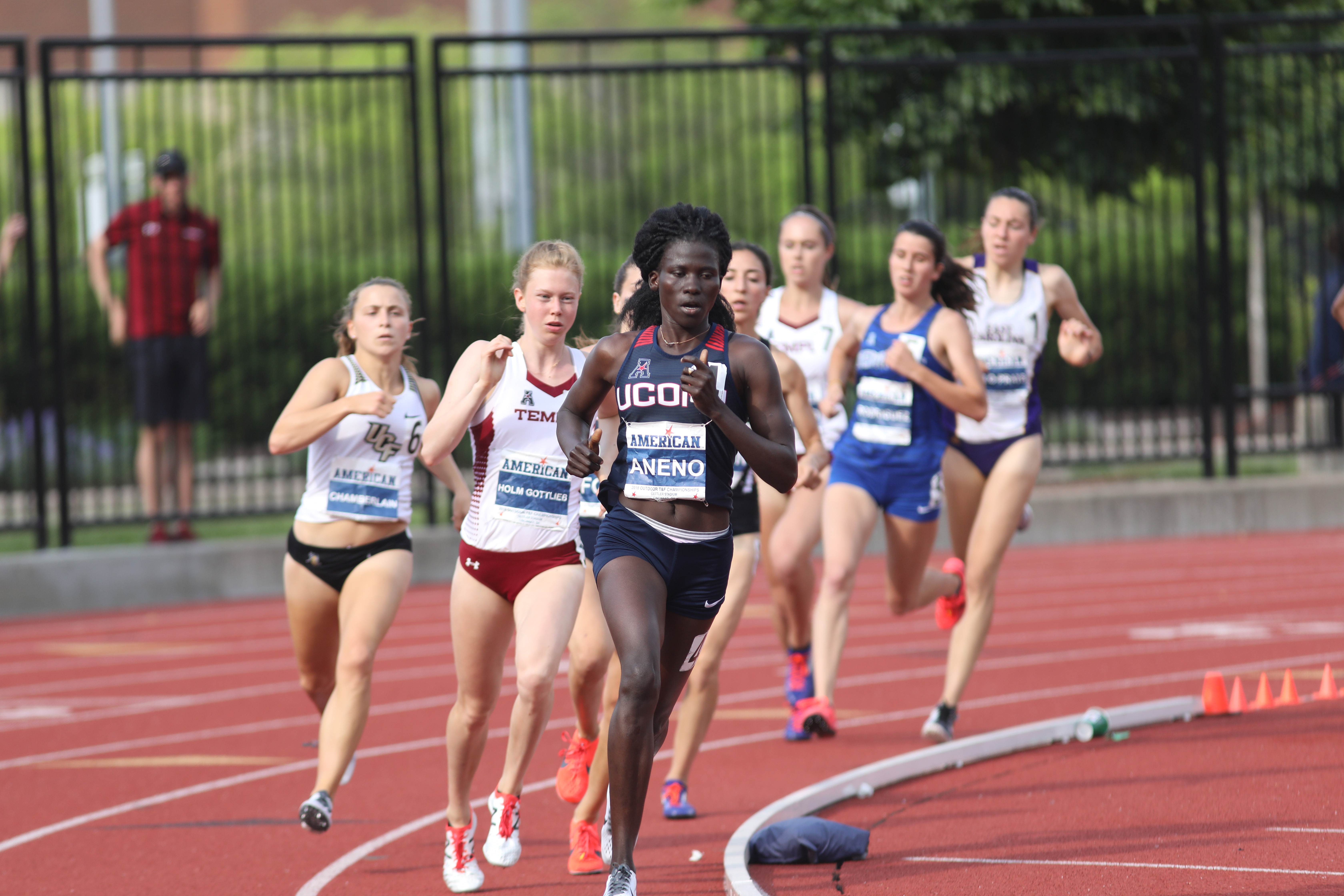 Susan Aneno, a junior, set a new conference meet record in the 800 m race on May 13, helping the Huskies finish fourth at the outdoor championship. (American Athletic Conference Photo)