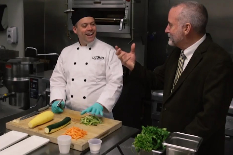 Dennis Pierce, director of dining services, with Robert Landolphi, assistant director of dining services for culinary development. Pierce received a 2018 Silver Plate Award from the International Foodservice Manufacturers Association. UConn also won a national award for Best Vegan Recipe.