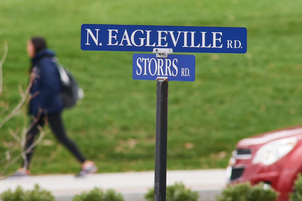 Street sign at the corner of North Eagleville Road and Storrs Road (Route 195). (Peter Morenus/UConn Photo)
